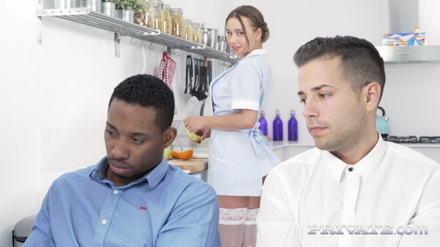 Fuckable maid Taylor Sands gets spit-roasted and DPed in FMM in her white nylons