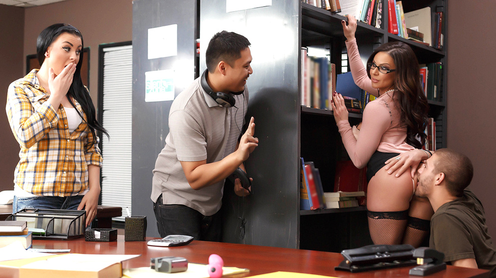Horny Kendra Lust gets fucked right in her library wearing nothing but her fishnets and glasses