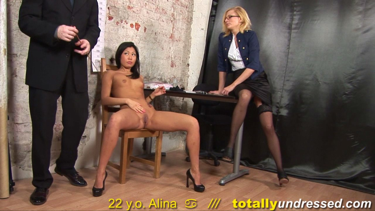 Stockinged HR and her partner make an oriental secretary strip naked and work two dildos