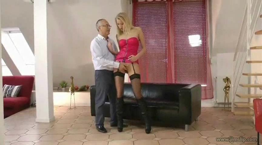 Leggy hottie Teena Lipoldino stockings and boots banged by an old gent