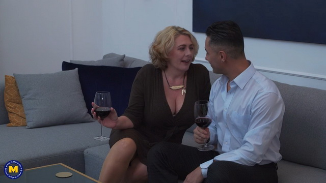Busty British milf Camilla C. ass fucked in tan stockings after a glass of wine