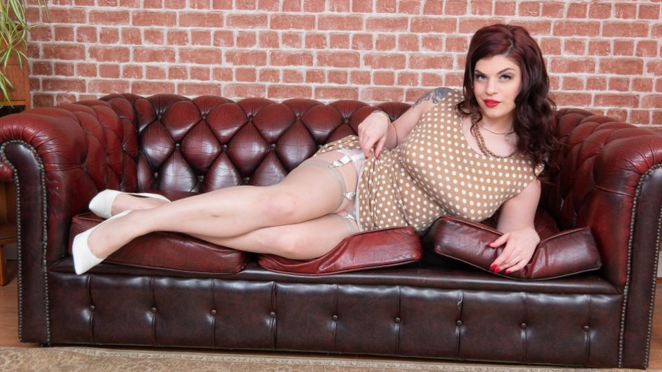 Lucia Love shops for a retro polka-dot dress, bullet bra, sheer panties & nylons