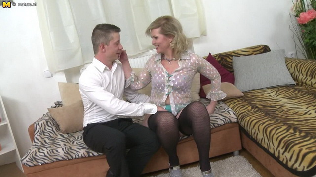 Horny housewife Mirka J. sucking and fucking her toy boy