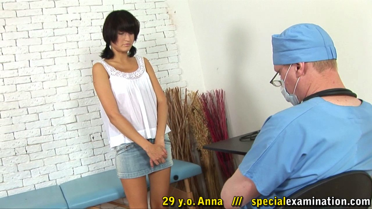 Pigtailed girl in white undies gets a pussy-stretching gyno exam