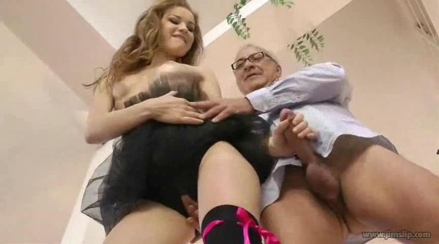 Prima Ballerina Diamond Cross stripping and munching on older guy's cock