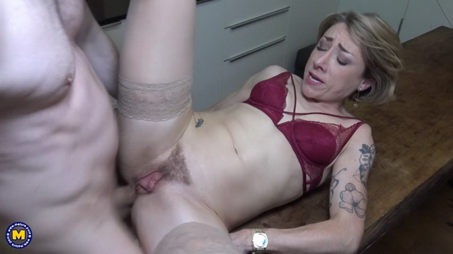 Sexy French milf-baker Julie Holly gets her anal creampie parting stockinged legs