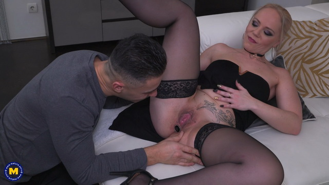 Blonde Belgian milf Miss Loly gets her butt unplugged for a stockinged anal 2sum