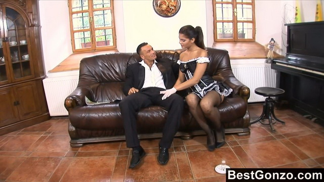 This naughty maid lets her master stick it up her ass