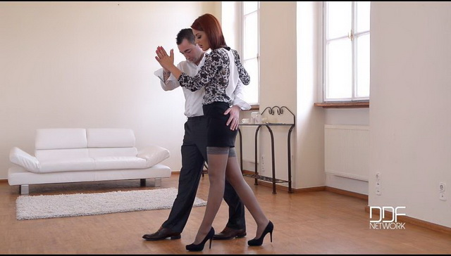 Romanian redheaded dance teacher Aylin Diamond opens stockinged legs for a fuck and gives a footjob