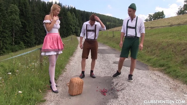 Pretty farmer's girl Nikky Dream spreads legs in white nylons for FMM spit-roasting in the field