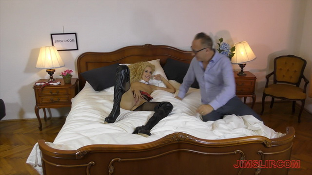 Blonde school slut Monique Woods opens legs in suspender tights & thigh high boots for an old fucker