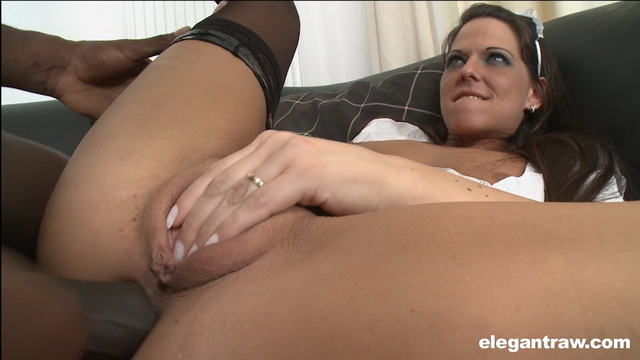 Simony Diamond puts on black nylons and sexy maid outfit for a butt plug and POV anal interracial