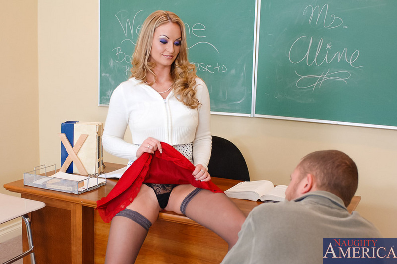 Irresistibly hot teacher fucked in the classroom in her fine grey holdups