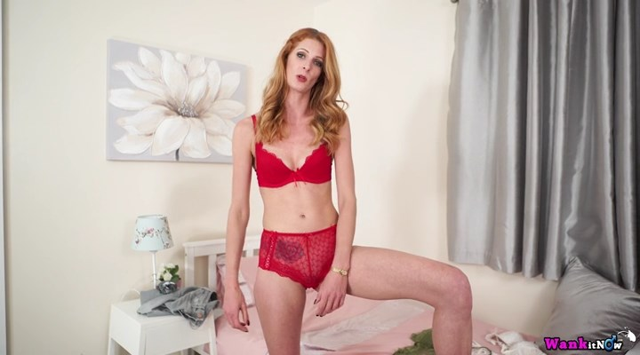 Slim redhead Leah tries on some hot panty-n-bra sets making a friend wank to her