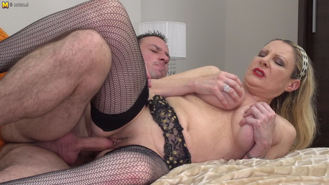 Cock-hungry Italian cougar Valentina gets banged in her mesh stockings & garters