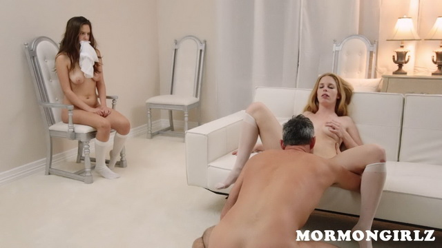 Gagged Mormon girl in white knee-highs obediently watches Seed Bearer fucking his beautiful wife