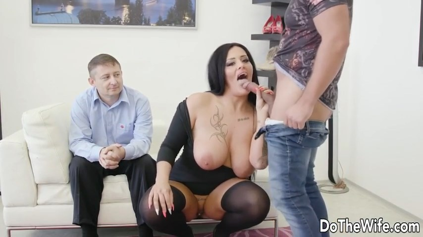 Busty tattooed wife Ashley Cumstar fucked like a hot stockinged slut in front of her pathetic hubby