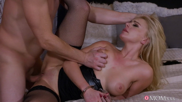 Blonde wife Elizabeth Romanova handcuffed in her LBD & holdups for kinky fucking