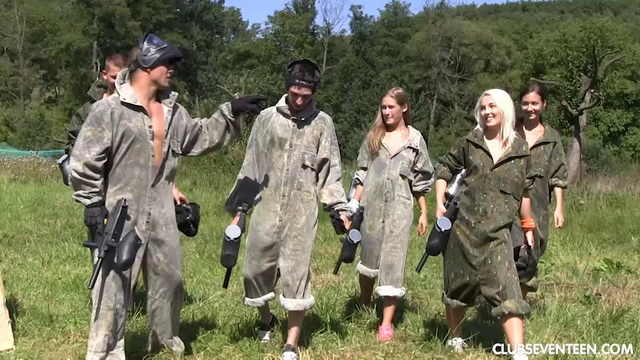 Young paintball players Heather Harris, Lovita Fate & Tiffany Tatum win an all-out fuck in the field