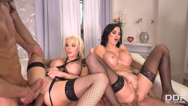 Lusty Brits Jasmine Jae & Barbie Sin enjoy group anal in their fishnets & nylons
