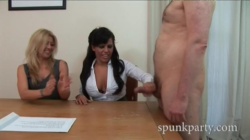 Bitchy babes in sexy hosiery milk guys on a pervy spunk audition