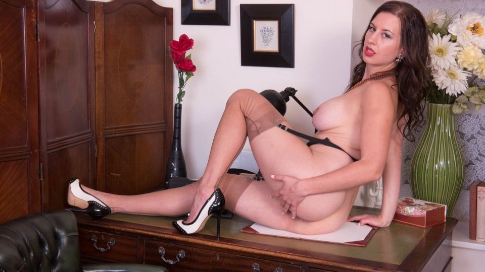 Bossy Icelandic Tindra Frost gives jerk off instructions in retro nylons & heels