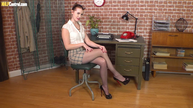 Wanton office babe Brook Logan orgasms on her desk in tights and spike heels