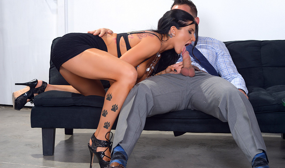 Bigtitted and high heeled Romi Rain rides a new guy at the office on fuck-me Friday