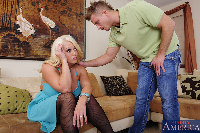 Stacked blonde milf Alura Jenson in patterned stockings fucks for a revenge