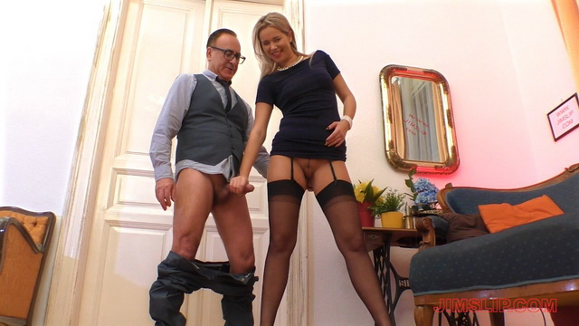 Tall gal Nikky Dream opens her long legs in black FF stockings for an old fucker