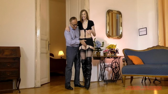 Dressed like a ho Milena Devi takes an old dick between her mile-long legs in stockings and boots
