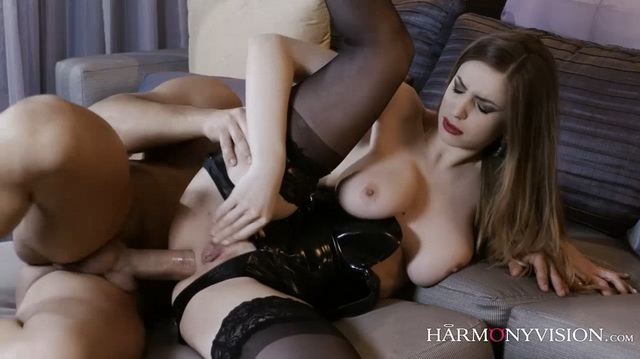 British beautiful busty brunette Stella Cox gets her asshole destroyed by a huge cock