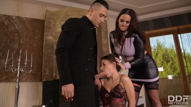 Stockinged domina Simony Diamond spanks handcuffed Anita Bellini before anal FFM