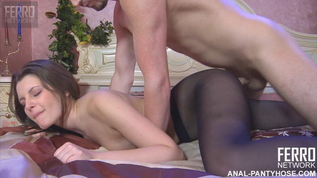 Topless beauty wiggles her ass in black sheer-to-waist hose eager for anal