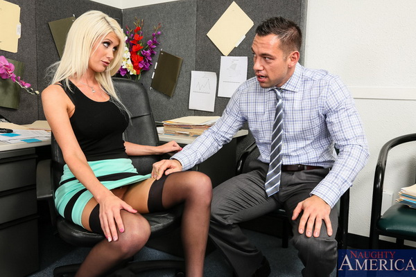 Overworked blonde Riley Jenner stays in the company after some deepthroat and stockinged fuck