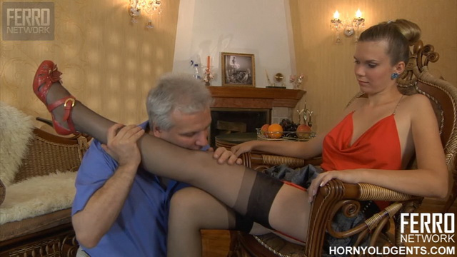 Bitchy girl in red-n-black attire using a horny old gent as her fuck toy