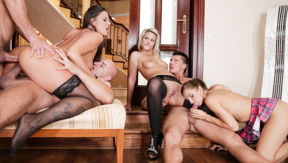 Stocking wife orgy video