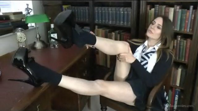 Unruly English coed Samantha Bentley strips her uniform, lingerie, socks and heels to lick bare toes