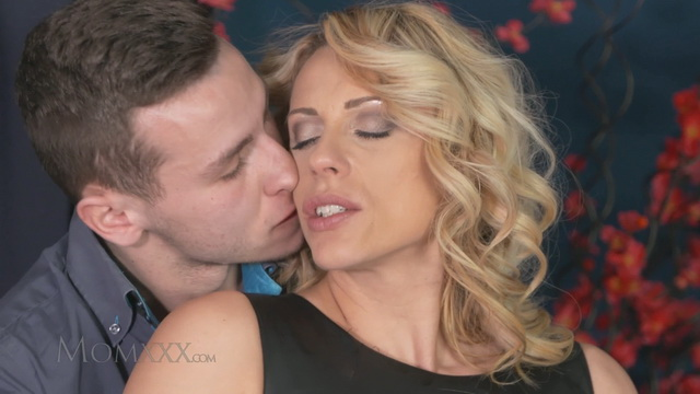 Horny mom Brittany Bardot gets her fix of meat wearing her sexy red top fishnets