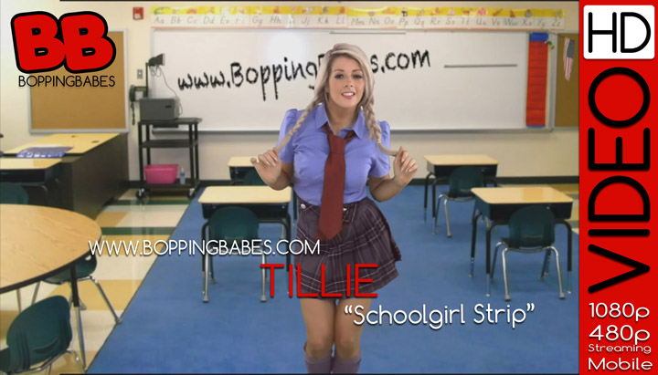 Pigtailed British blonde Tillie dances and strips off her schoolgirl uniform