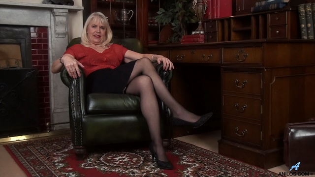 Sex-starved 64 y.o. British gran Margaret Holt in black lingerie and nylons indulges her shoe fetish