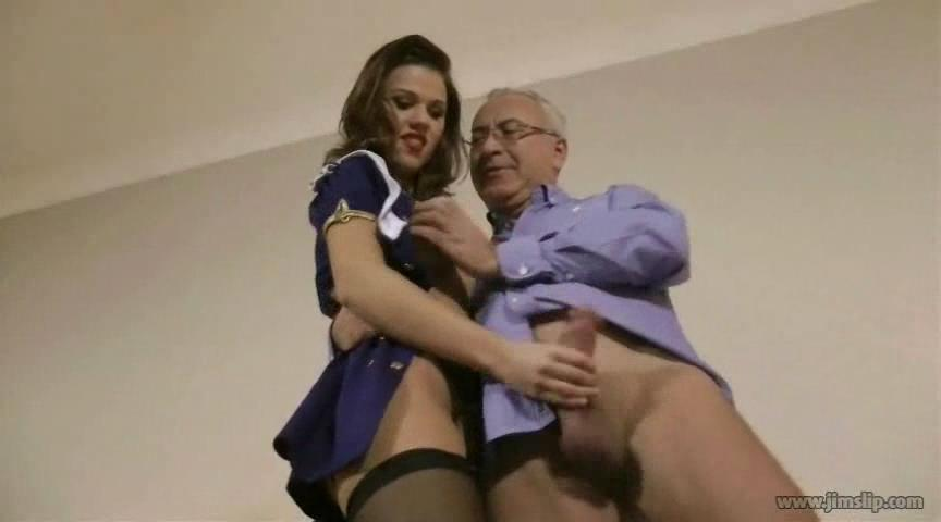 Black-stockinged girl going for kinky uniform sex with an old man