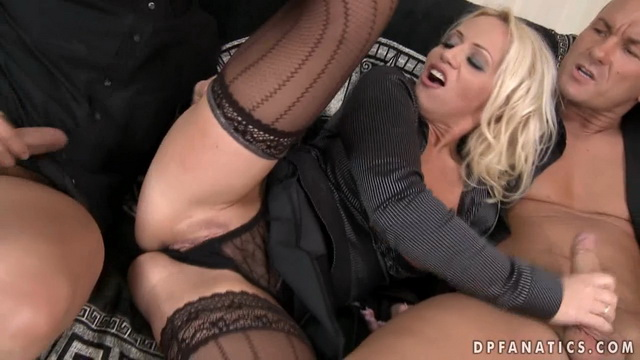 Slutty busty widow from Hungary Sarah Simon gets 3some DP with two hung guys from a funeral parlor