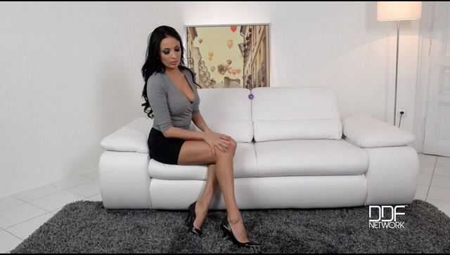 French stunner Anissa Kate uses an egg toy on her lush boobs and wet pussy stripping down to pumps