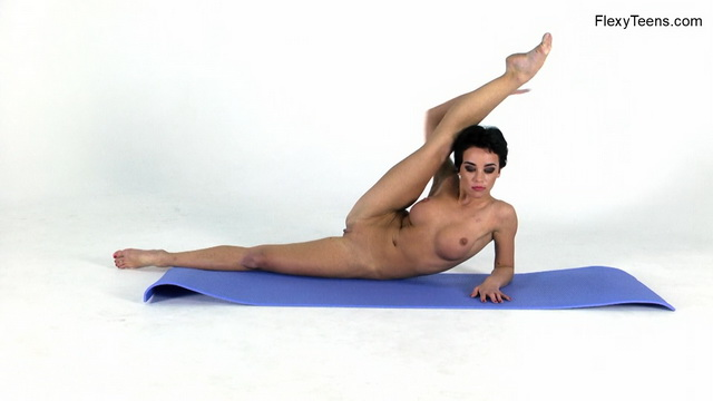 Liza Raykina makes sexy nude bends and twists out of her glittery teddy & heels