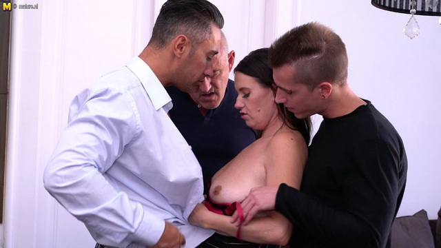 Naughty cougar Annabelle More gets her fill from three guys