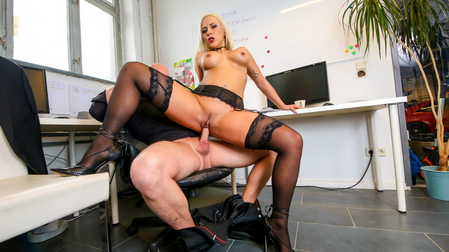 Hot busty German Lilli Vanilli gets cum covered in naughty office sex