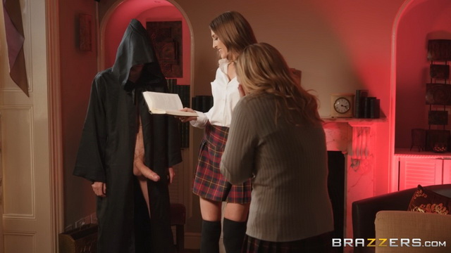 Slutty coed Rhiannon Ryder summons a super-hung dark lord for a stockinged bang