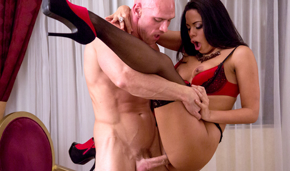 Latina pornstar Luna Star in a red garter and black nylons paid for a fuck