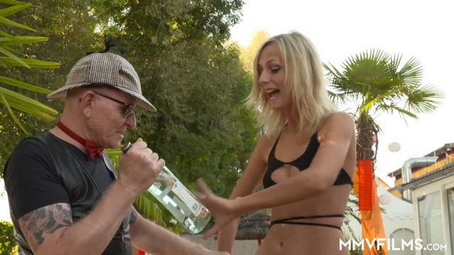 Blonde Jenny Smart gets fucked outdoors for a bar theft in her hot bra & panty set with black nylons